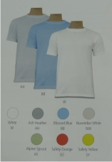 Basic T-Shirt (weiß S-5XL; Ash Heather, Blizzard Blue, November White, Alpin Spruce S-3XL) Preis: EUR 16,00 Atmungsaktive Funktionsfaser mit Baumwollgriff, Doppelnähte, Nackenband, geripptes Rundhalsbündchen, lässiger Schnitt, 190g/qm, 100% Polyester
